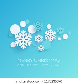 Snowflakes and round confetti paper cut illustration. Merry Christmas and Happy New Year greeting. Xmas decorations and paper cut elements. Poster, banner design. Isolated vector