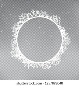 Snowflakes round frame template set on gray transparent background. Christmas holiday ice ornament circular banner
