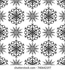 Snowflakes seamless pattern. Black and white monochrome background with christmas elements. Vector illustration