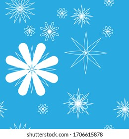 Snowflakes Seamless Pattern with blue sky Background color.