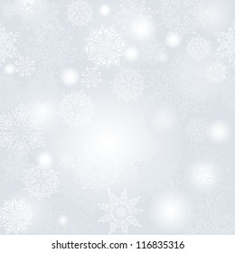 Snowflakes seamless pattern, snow blurred christmas background.