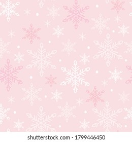 Snowflakes seamless pattern. White snow crystals on light pink background. Great for winter fabric, textile, Christmas wrapping paper, scrapbooking. Surface pattern vector design.