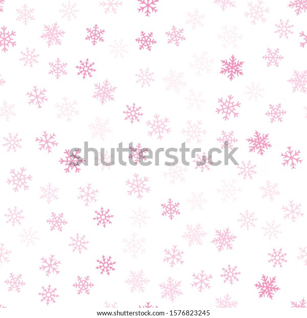 Snowflakes seamless pattern. Winter holidays theme. Vector background with small transparent pink snow flakes on white backdrop. Subtle minimal texture. Cute repeat design for decor, wallpaper, web