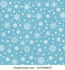 Snowflakes seamless pattern. Winter snow flake stars, falling flakes snows and snowed snowfall. Christmas holyday vintage decoration, fabric or gaft wrapping vector background