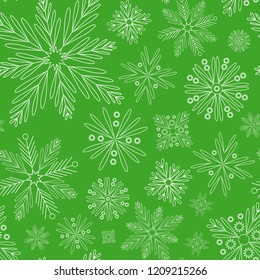 Snowflakes seamless. Vector background. Winter ornament 020