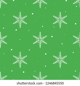 Snowflakes seamless vector pattern in green and white colors