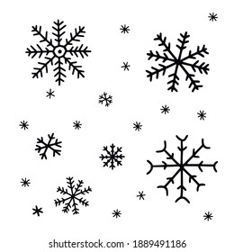 Snowflakes set of doodle. Winter elements in naive illustration style. Hand drawn vector picture isolated on white.