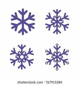 snowflakes set vector icon