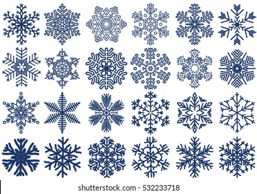 Snowflakes Set, Snow-flakes winter collection, snowfall vector illustration