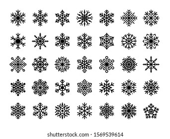 Snowflakes set. Winter flat vector decorations elements.