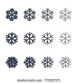 Snowflakes signs set. Black snowflake icons isolated on white background. Snow flake silhouettes. Symbol of snow, holiday, cold weather, frost. Winter design element Vector illustration
