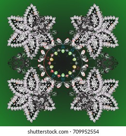 Snowflakes, snowfall. Falling Christmas stylized snowflakes. Beautiful vector snowflakes isolated on a colorful background. Illustration.