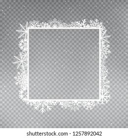 Snowflakes square frame template set on gray transparent background. Christmas holiday ice ornament banner