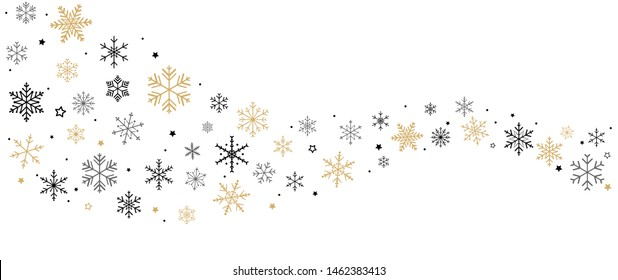 Snowflakes and Stars shaped curve design on white background.