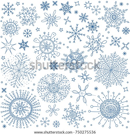 Snowflakes, stars, winter symbols, brushes set. Vector Christmas doodle brush line pattern. Seamless abstract shapes background. New Year and Merry Xmas seasonal hand drawn snow ornaments collection