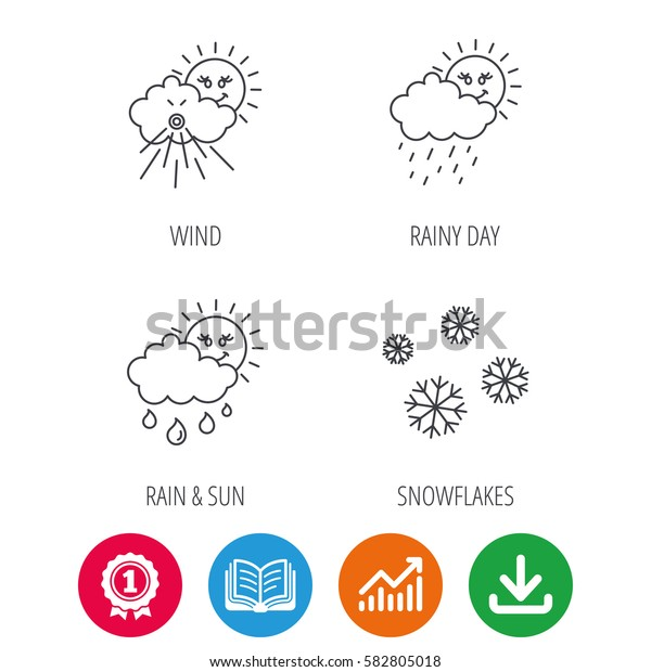 Snowflakes, sun and rain icons. Wind linear sign. Award medal, growth chart and opened book web icons. Download arrow. Vector