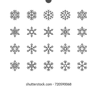 Snowflakes UI Pixel Perfect Well-crafted Vector Thin Line Icons 48x48 Ready for 24x24 Grid for Web Graphics and Apps. Simple Minimal Pictogram Part 2-2