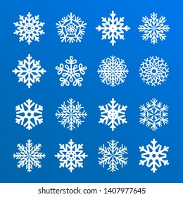 Snowflakes vector collection isolated on blue background. Snow icons silhouette, winter, New year and Christmas decoration elements.
