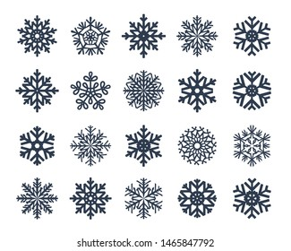 Snowflakes vector collection isolated on white background. Snow icons silhouette, winter, New year and Christmas decoration elements.