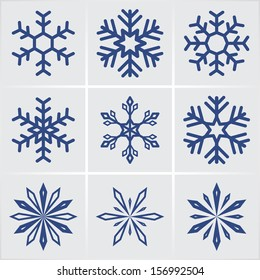 snowflakes. vector icons set. eps8