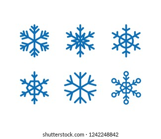 Snowflakes vector icons, snow in winter season symbol, christmas decoration geometric element collection