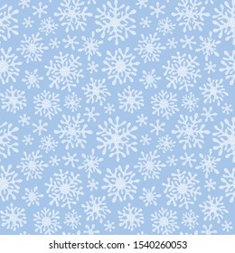 Snowflakes vector seamless pattern. Snowfall christmas repeat backdrop.