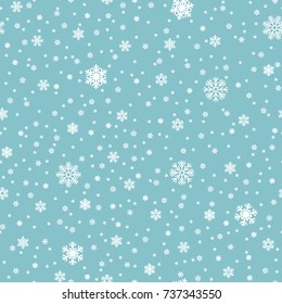 Snowflakes vector seamless pattern. Snowfall christmas repeat backdrop. Seamless pattern christmas snowfall, backdrop winter snowflake illustration