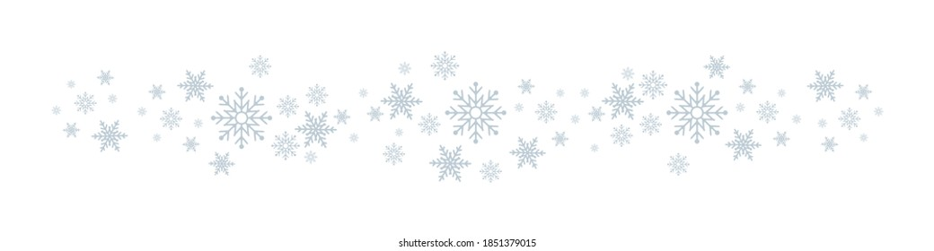 Snowflakes. White winter background with Snowflakes border.  Christmas background for greeting card. Snowflake. Xmas ornament or design. Vector illustration