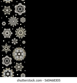 Snowflakes winter New Year frame in beige colors with copy space (place for your text).