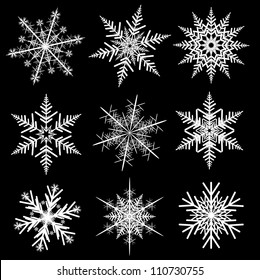 Snowflakes winter set, vector realistic design.