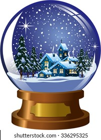 Snowglobe with inside winter christmas nighttime landscape under snowfall isolated