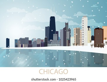 Snowing Winter Panorama of Chicago city with skyscrapers, frozen lake Michigan, Willis Tower, trees, snowflakes and blue sky and sunny day. Landscape, view, snow, travel, USA. Vector EPS10