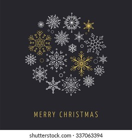 Snowlakes, geometric Christmas circle background