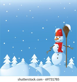 The snowman among winter snowdrifts and fur-trees with a broom