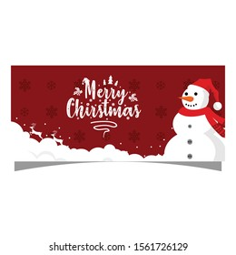 snowman banner for chirstmas vector