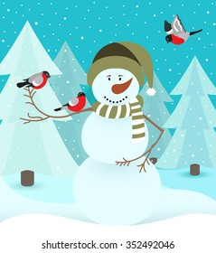 snowman with bird in forest