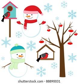 Snowman, birds, tree, snowflakes and birdhouses - winter set.