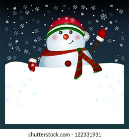 snowman with blank banner christmas and new year greeting card winter holiday background