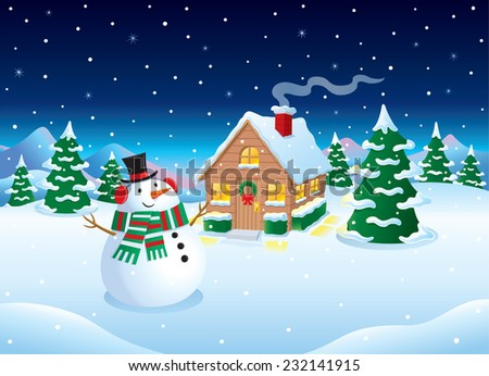 Snowman Cabin Winter Snow Scene Stock Vector (Royalty Free ...