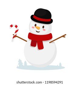 snowman with candy cane. a cheerful snowman with a scarf in a black hat