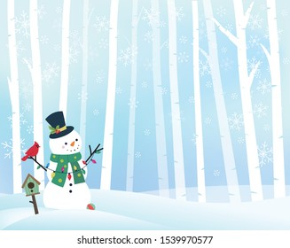 Snowman and cardinal in the winter snow. Christmas card design. Christmas vector illustration.