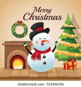 Snowman cartoon of Christmas season design