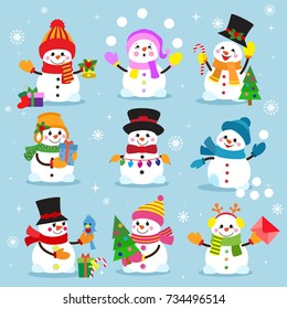 Snowman cartoon winter christmas winter character man holiday merry xmas snow boys and girls vector illustration.