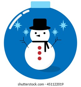 Snowman in a christmas ball