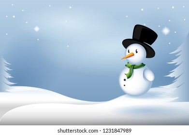 Snowman christmas card vector isolated on blue background. Christmas card for web site, backdrop and wallpaper. Snowman for greeting card, email greetings and cover. Vector illustration
