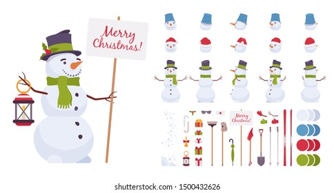 Snowman christmas construction set, traditional figure, cute holiday snow model for new year decoration, festive creation element to build your own design. Cartoon flat style infographic illustration