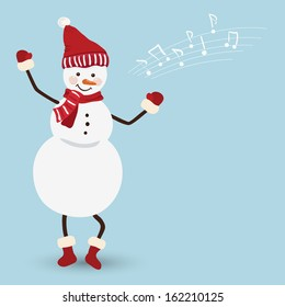 Snowman in a Christmas dress dancing, vector