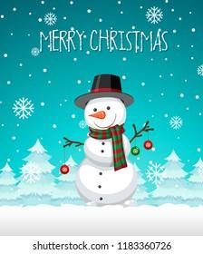 A snowman christmas template illustration