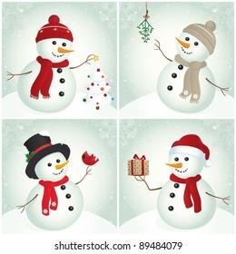 Snowman. Snowman with Christmas tree, mistletoe, cardinal bird and gift. Christmas design. Winter.
