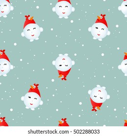Snowman cock. Seamless Christmas pattern.